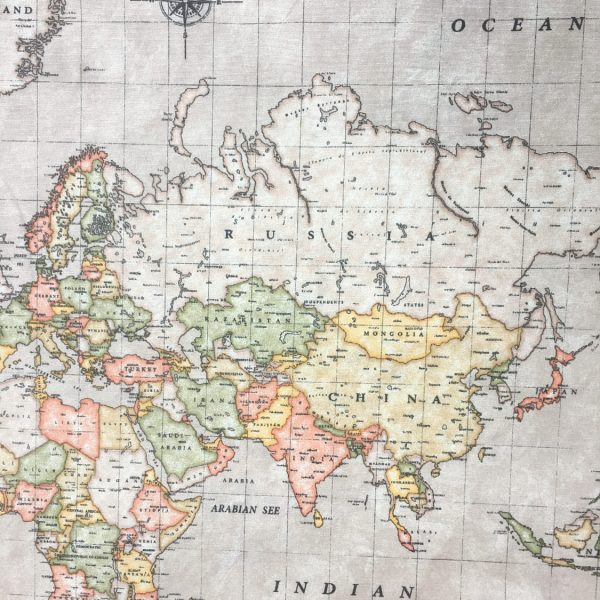 world map fabric print