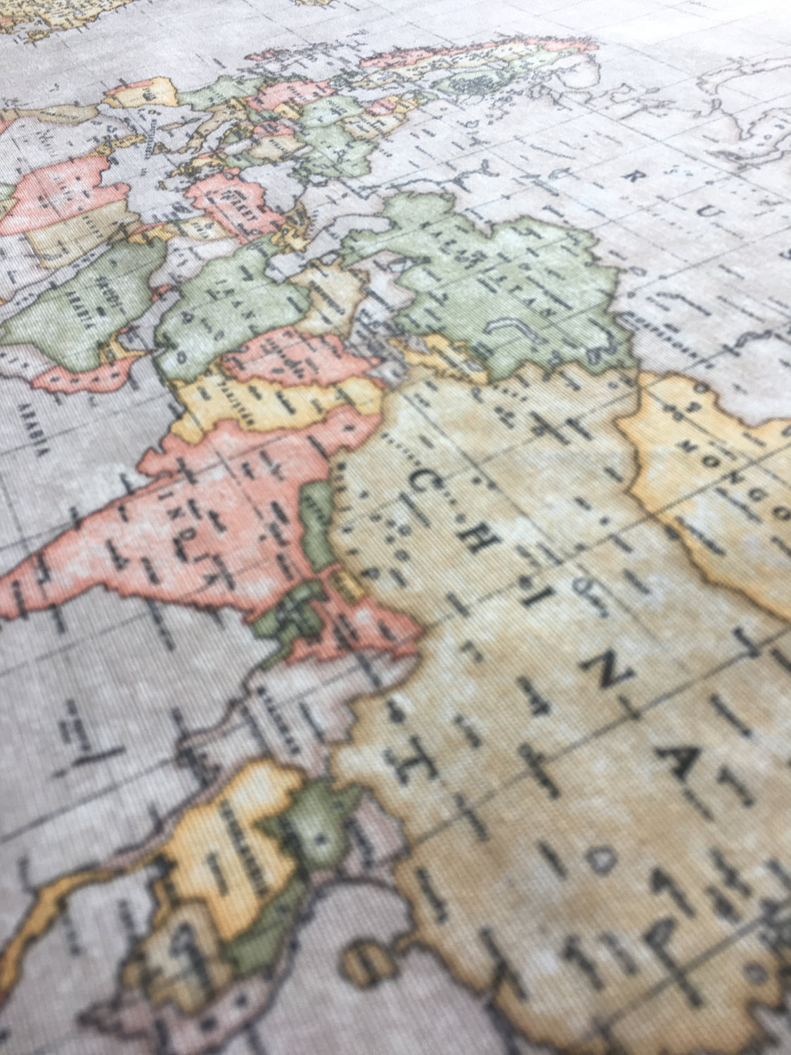World Map Print Fabric.Beige World Map 3 Designer Curtain Upholstery Cotton Fabric Material