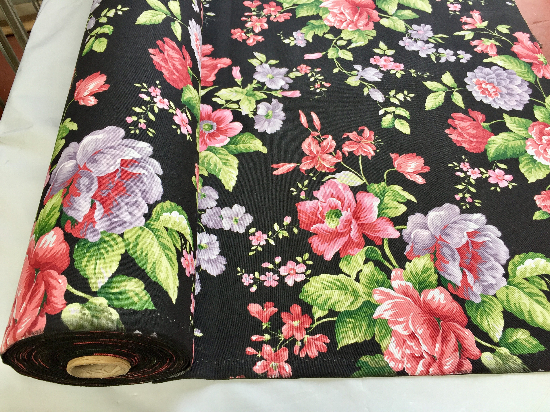 BLACk Floral Rose Print Designer Curtain Upholstery Cotton ...