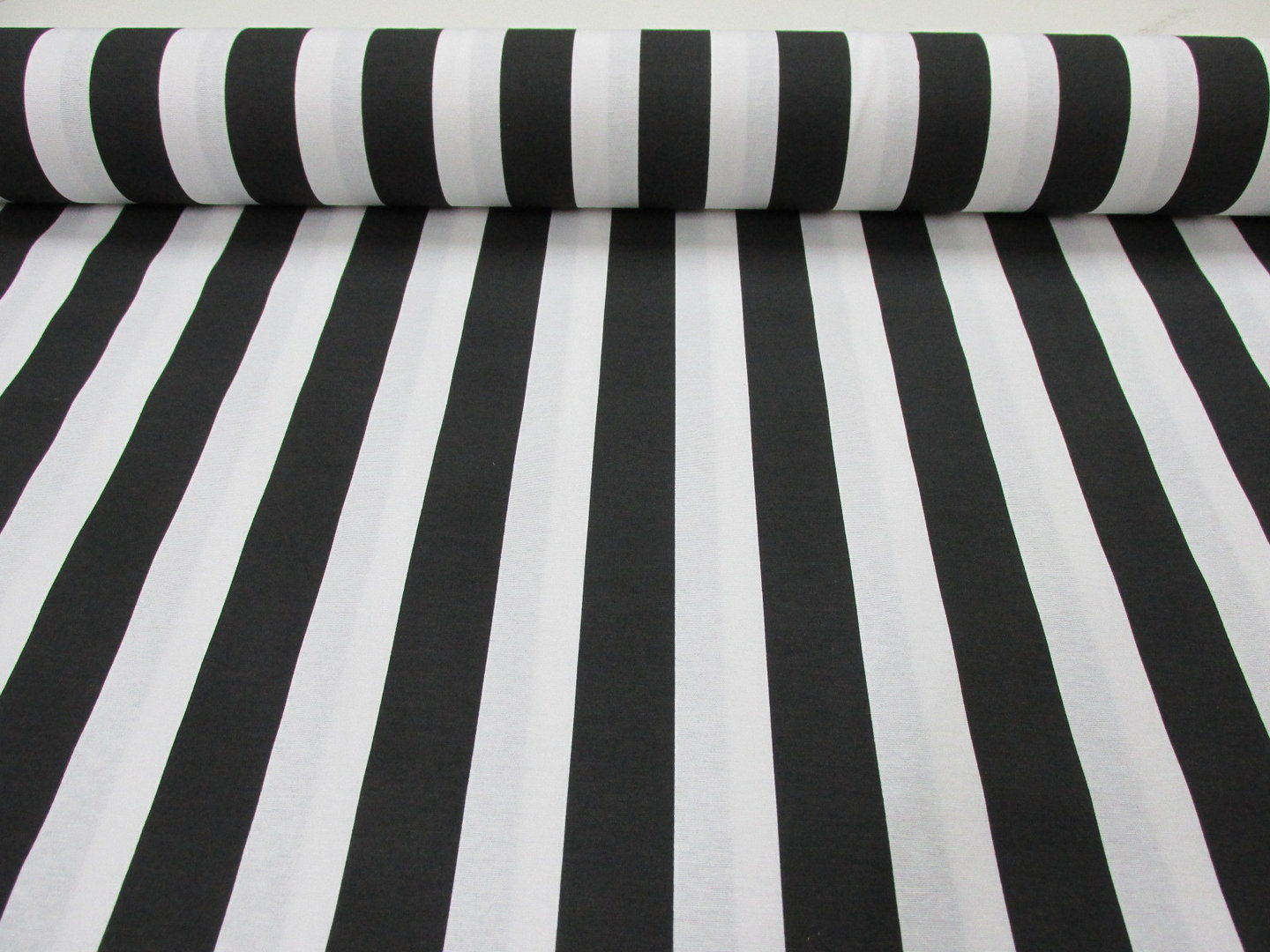 Black White Striped Fabric Sofia Stripes Curtain
