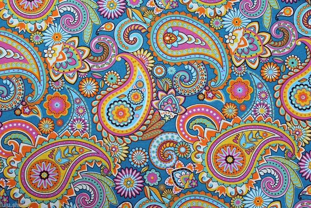 Blue Paisley Designer Curtain Upholstery Cotton Fabric