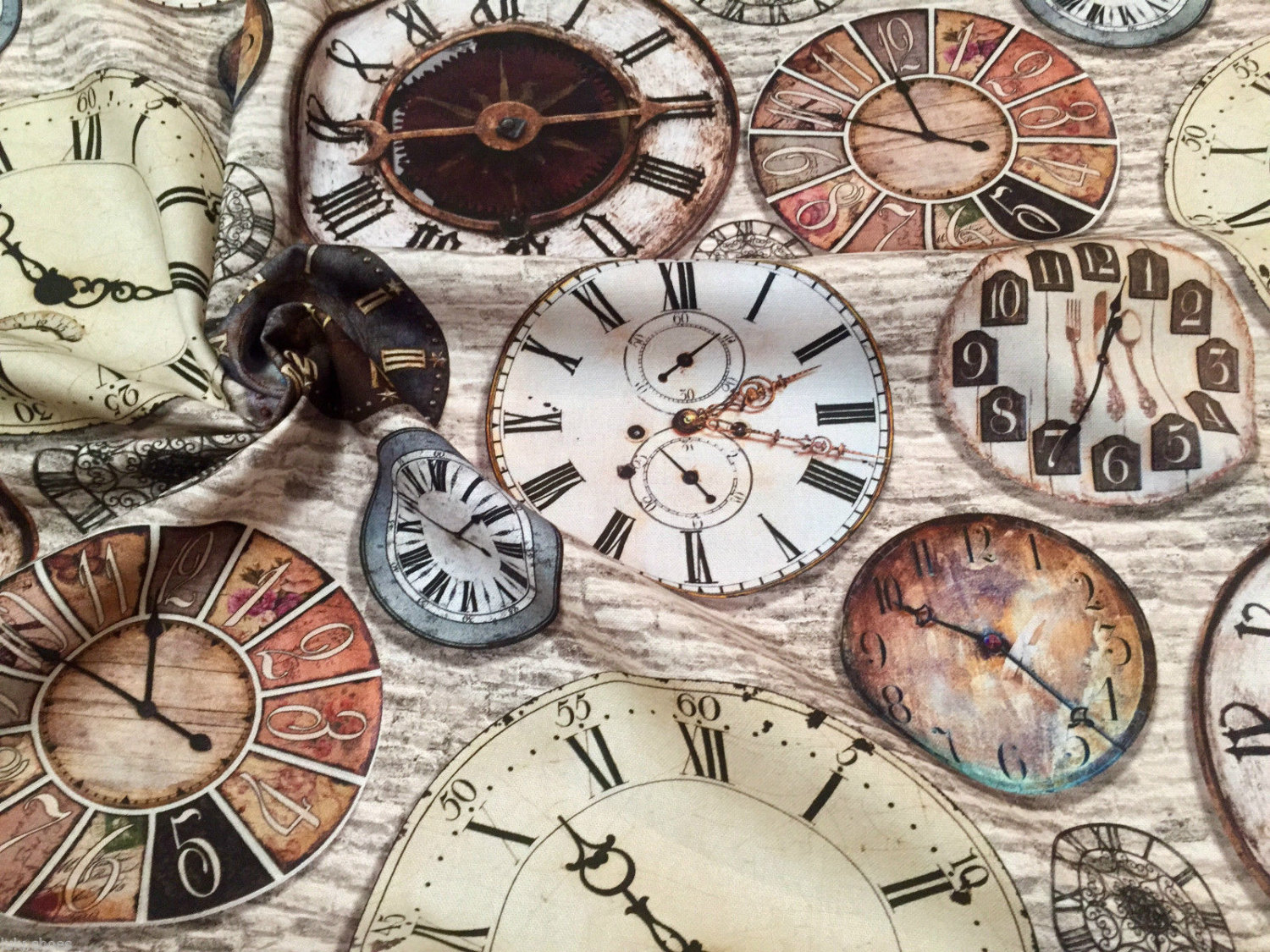 Clock Clockwork Time Watch Face Cotton Fabric Curtain
