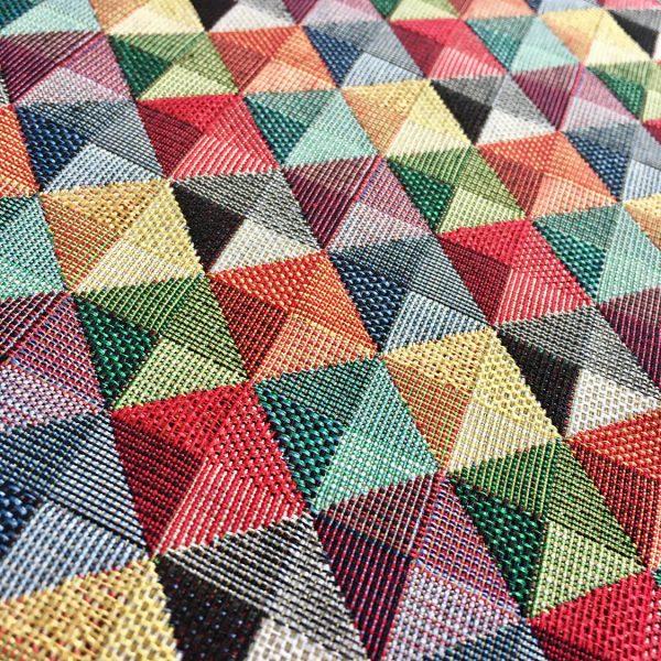 RHOMBUS SQUARES Print Gobelin Fabric Material For Curtains