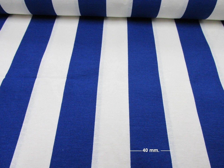 White Blue Striped Fabric Sofia Stripes Curtain