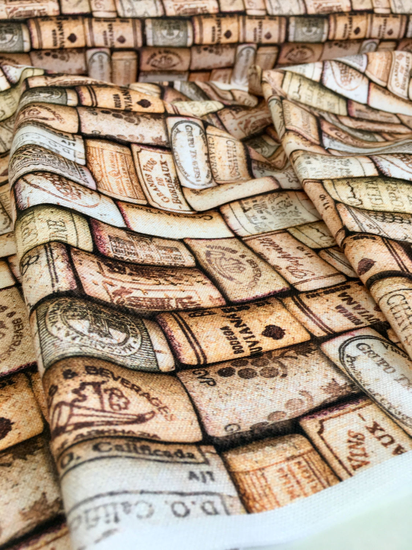 Wine Cork Digital Print Designer Curtain Upholstery