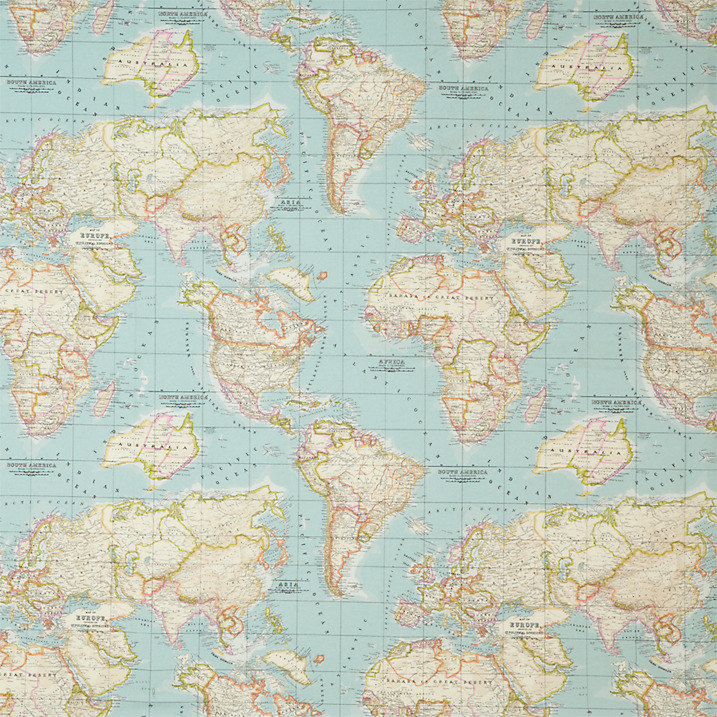 WORLD MAP 2 Designer Curtain Upholstery cotton fabric material ...