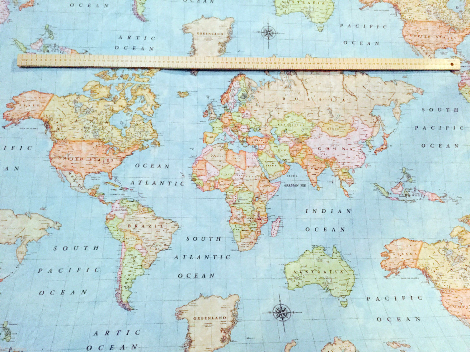 WORLD MAP 3 Designer Curtain Upholstery cotton fabric material - 55\