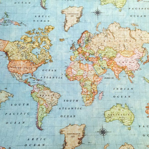 world map print fabric