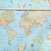 World Map Print Fabric.World Map 3 Designer Curtain Upholstery Cotton Fabric Material