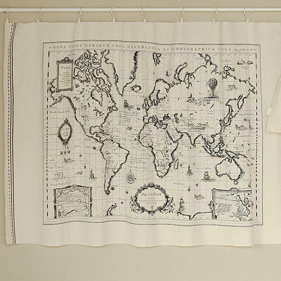 World Map Linen Fabric - World Map Curtain Panel Linen Material Hanging  Tapestry 60 x 105cm - sold by panels