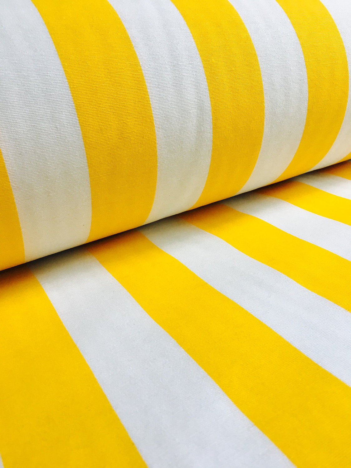 Yellow White Striped Fabric Sofia Stripes Curtain