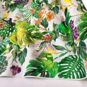 "Tropical Bird & Garden Fabric Curtain Upholstery Cotton Material / digital print fabric /280cm  110"" wide"