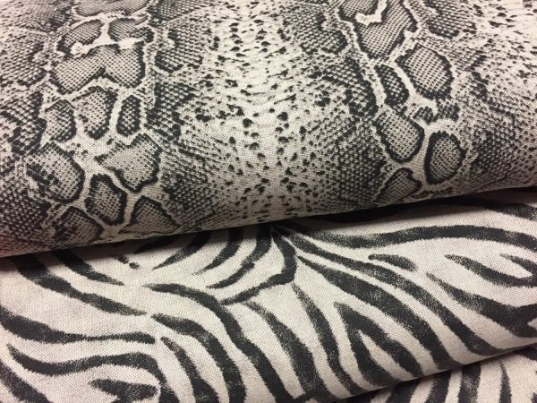 ZEBRA or SNAKE SKIN Animal Print Fabric Linen Cotton Blend - curtains upholstery dressmaking fabrics - Black Stripes - 55 inches wide