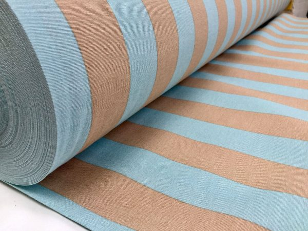 AQUA BEIGE Stripe Fabric Sofia Stripes Curtain Upholstery Striped Material - 140cm wide