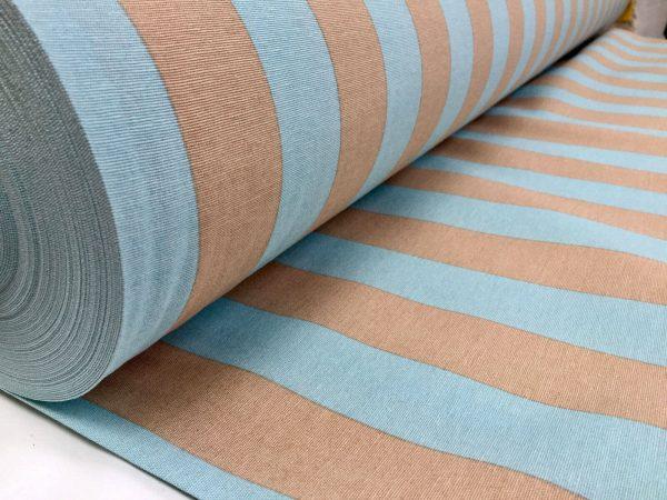 Aqua Beige Stripe Fabric Sofia Stripes Curtain Upholstery Striped Material - 280cm EXTRA WIDE