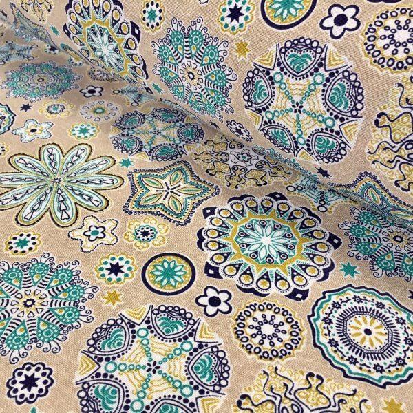 Aquarius Flower Mandala Stars Hippy Print Fabric Curtain Upholstery