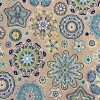 AQUARIUS Flower Mandala Stars Hippy Print Fabric Curtain Upholstery material - 110'' / 280 cm Extra wide - BLUE