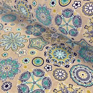 AQUARIUS Flower Mandala Stars Hippy Print Fabric Curtain Upholstery material - 140cm wide - BLUE