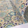 AQUARIUS Flower Mandala Stars Hippy Print Fabric Curtain Upholstery material - 140cm wide - BLUE