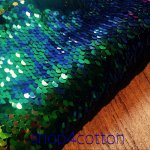 MERMAID Reversible 5mm Sequin Fabric Flip Two Tone Stretch Material - 130cm wide -  Iridescent Green Blue Black sequins