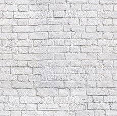 WHITE BRICK WALL Print Cotton Fabric Curtain Material - 55''/ 140cm wide