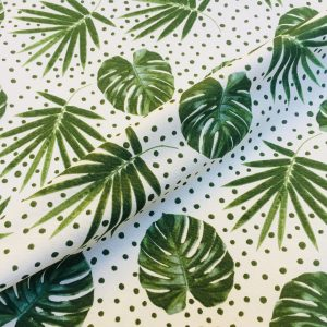 Green Polka Dot Palm Leaf Cotton Fabric - tropical leaves curtains - 55''/140cm wide