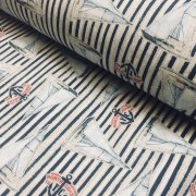 Sailboat Fabric Marine Stripe Nautical Curtain Yacht Boat Material - Curtain Upholstery Material - 280cm extra wide - Navy Blue Canvas