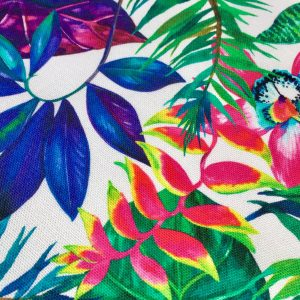 """Tropical Flower Orchid  Fabric Curtain Upholstery Cotton Material / digital print fabric / 140cm  55"""" wide"""
