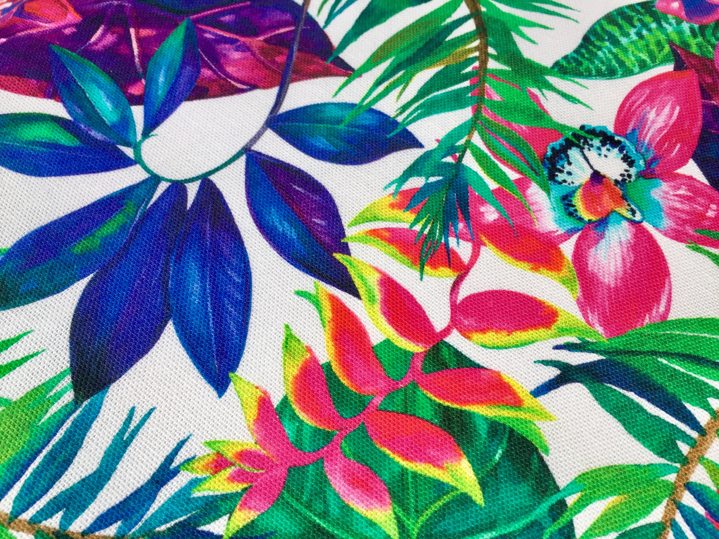 Tropical Flower Orchid Fabric Curtain Upholstery Cotton Material