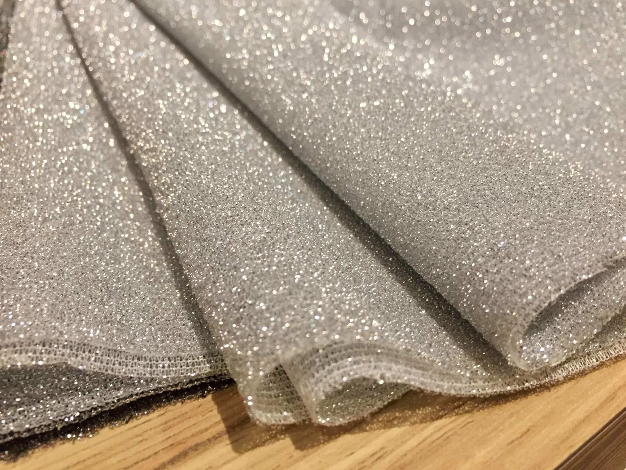 ba39edcb186 Lightweight Metallic Lurex Fabric Stretch Jersey Material – Sparkling  SILVER Glitter – 150cm wide