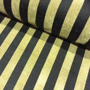 Black & Beige Stripe Jacquard Chenille Fabric Stripe Material Upholstery Striped Cloth - 55'' wide
