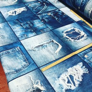 "DENIM JEANS Effect Fabric for Furnishing, Curtains, Backdrop - blue patchwork cotton material - 110""/280cm extra wide - jeans print canvas"