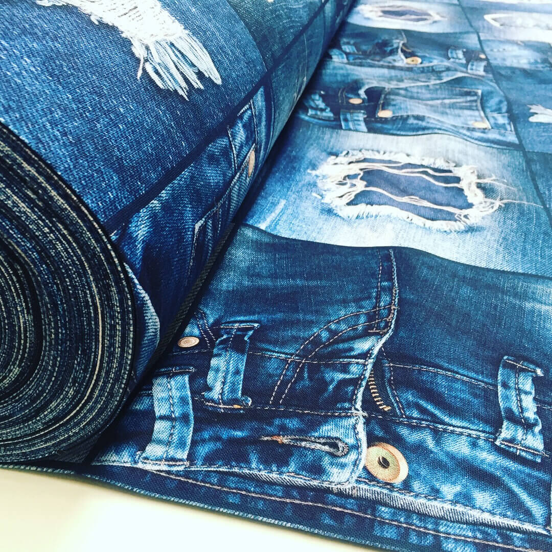 "DENIM JEANS Effect Fabric for Furnishing, Curtains - blue denim patchwork cotton material - 55""/140cm wide - jeans print denim canvas"