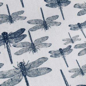 "DRAGONFLY Fabric for Curtains Upholstery Dressmaking - Black & White Insect Print Cotton Material - 55""/140cm wide"