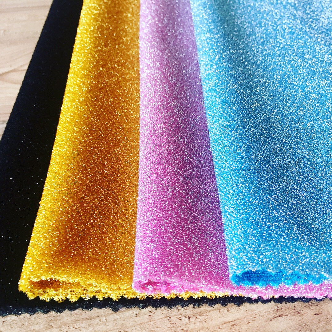 Lightweight Metallic Lurex Fabric Stretch Jersey Material - Sparkling Pink Blue Gold Black Glitter - 150cm wide