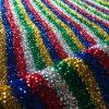 Rainbow Mettalic Tinsel Lurex Fabric Material - Sparkling Striped Rasta Print Glitter - 150cm wide