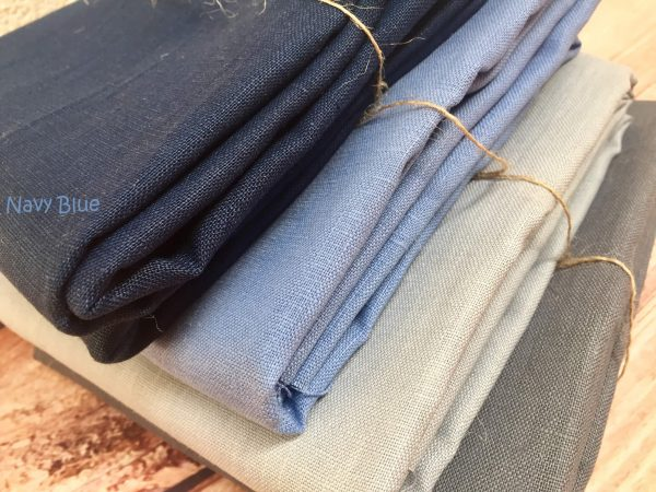 Soft Linen Fabric Material -  100% Linen for Home Decor, Curtains, Clothes - 140cm wide - Plain Navy Blue
