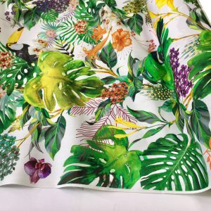 "Tropical Toucan Bird Fabric Curtain Upholstery Cotton Material / botanical palm leaf garden / digital print fabric / 140cm or 55"" wide"