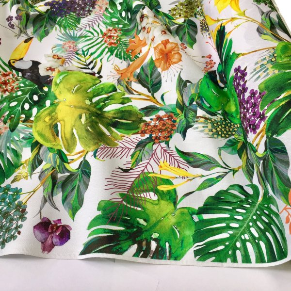 Tropical Toucan Bird Fabric Curtain Upholstery Cotton Material Botanical Palm Leaf Garden Digital Print