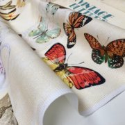 Vintage Butterfly Music Note Fabric Cotton Material for Curtains Upholstery Dress - Floral Digital Print Textile - 140cm wide canvas