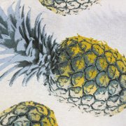 Yellow Pineapple Cotton Fabric for Curtain Upholstery - ananas green tropical leaf - 280cm extra wide