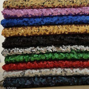 3mm Mini Sequin Fabric Material, 2 way stretch for wedding, dress, backdrop sequins / 51 inches wide/ Matte or Sparkling Sequins