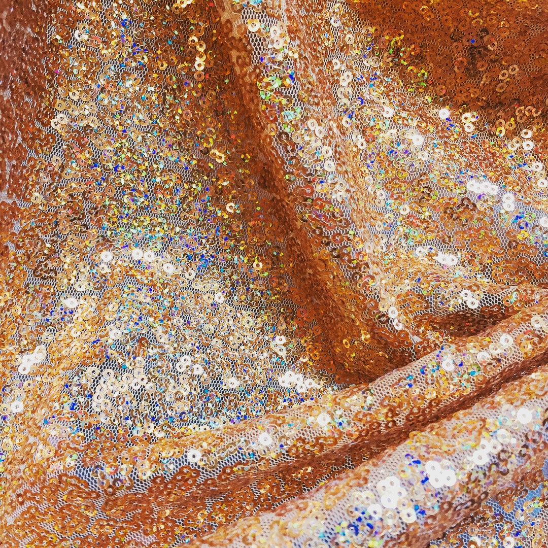 IRIDESCENT GOLD Glitter Sequin Fabric Material, 2 way stretch / 130cm wide / Sparkling Hologram 3mm Sequins