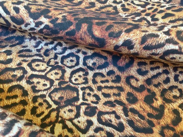 """PANTHER LEOPARD Print Cotton Fabric Material - animal print canvas for curtains, upholstery, dress - 55"""" or 140cm wide"""