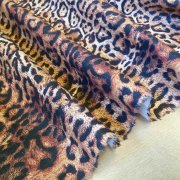 "PANTHER LEOPARD Print Cotton Fabric Material - animal print canvas for curtains, upholstery, dress - 55"" or 140cm wide"