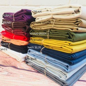 Pure Plain Linen Fabric Material Lightweight Linens for home decor, bedding, clothes, curtains - 140cm wide - 15 colours