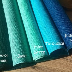 12'' wide Rustic Burlap Jute Runners For Events, Weddings, Home - Petrol Green, Jade, Mint Green, Turquoise, Indigo Blue (BY HALF YARD)