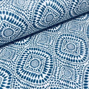"Blue & White Spanish Tile Flower Mandala Fabric Cotton Panama Material for Dress Decor Curtain Upholstery - 55"" or 140cm wide"