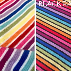 MULTI STRIPE Rainbow Single Jersey Knit Elastane - 4 Way Stretch Rib Cuff Fabric - 155cm wide