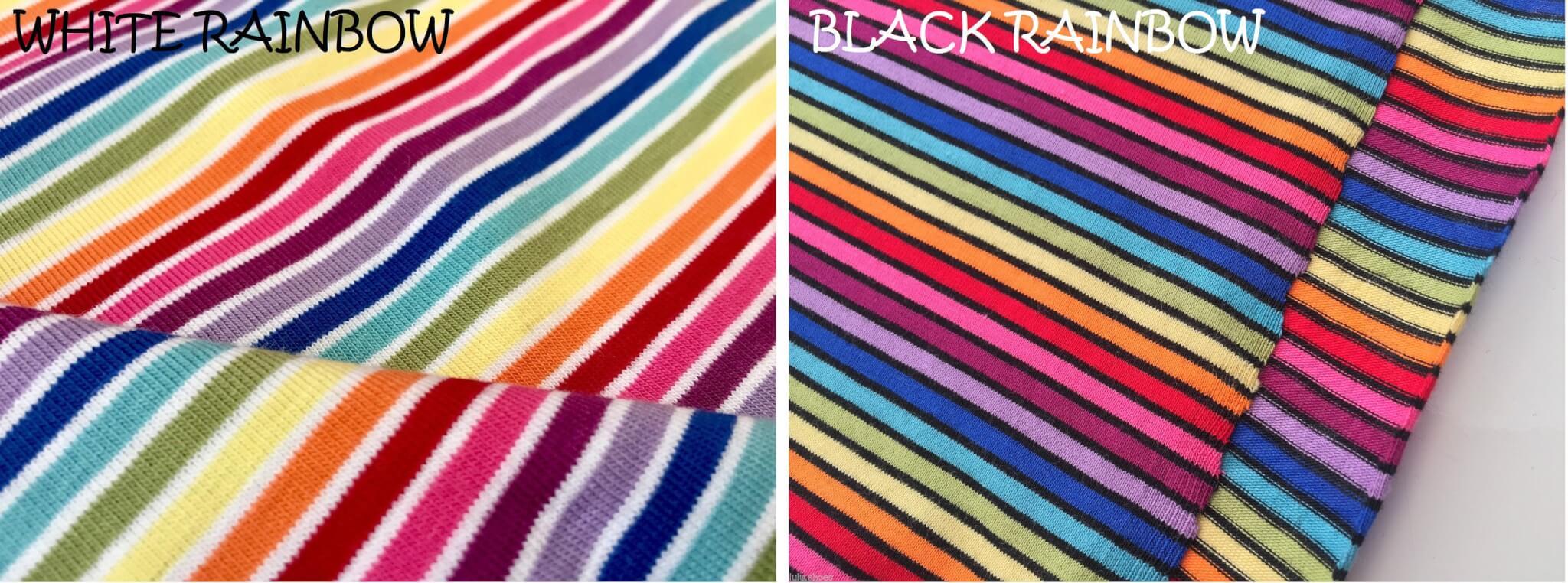 cf1b8411aba MULTI STRIPE Rainbow Single Jersey Knit Elastane - 4 Way Stretch Rib Cuff  Fabric - 155cm